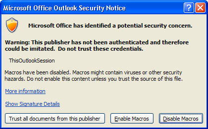 Outlook Macro Stops Working (or Doesn't Work to Begin With