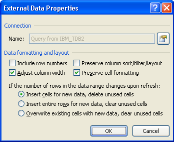 Excel External Data Properties