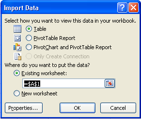 Excel Import Data