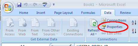 Excel Properties command button