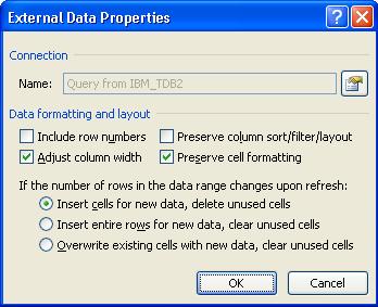 Excel External Data Properties