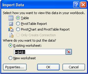 Excel Import Data