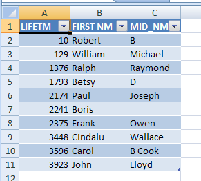 Excel results 2