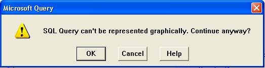 Microsoft Query warning